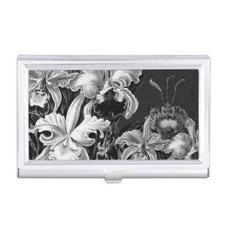Black&White Vintage Flowers Business Card Holder