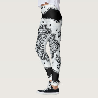 Black & White Vintage Lace Leggings