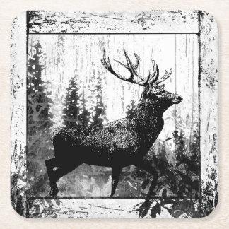 Black White Vintage Look Stag Deer Nature Art Square Paper Coaster