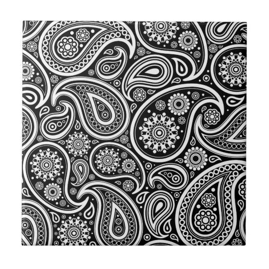 Black & White Vintage Paisley Damask  Pattern Small Square Tile