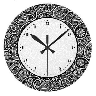 Black & White Vintage Paisley Damasks Large Clock