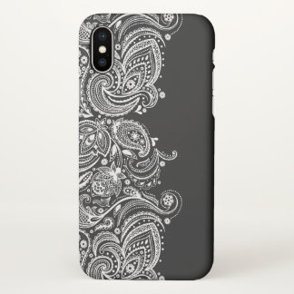 Black & White Vintage Paisley Lace iPhone X Case