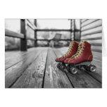 Black & White Vintage Red Roller Skates Greeting Cards