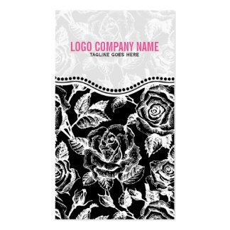 Black & White Vintage Roses Pattern Pack Of Standard Business Cards