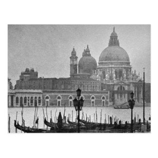 Black White Vintage Venice Canal Travel Postcard