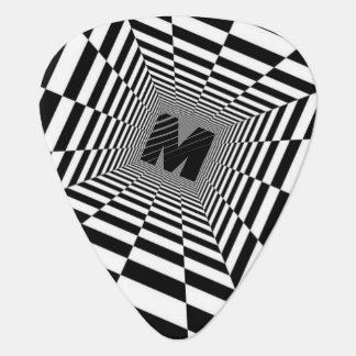 Black & White Visual Illusion, Monogram or Initial Plectrum