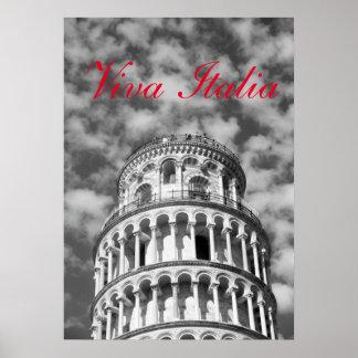 Black White Viva Italia Leaning Tower of Pisa Poster