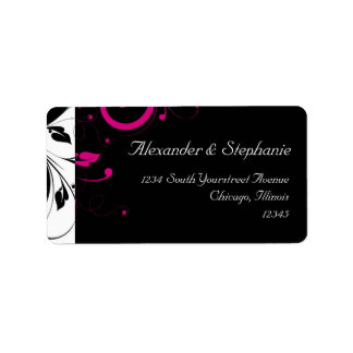 Black +White w/Fuchsia Reverse Swirl Wedding Label Address Label