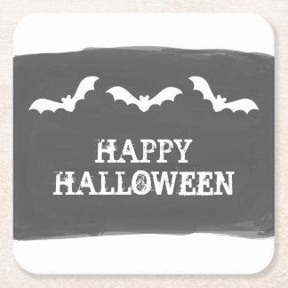 Black White Watercolor Bats Halloween Square Paper Coaster