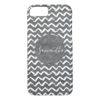 Black White Watercolor Chevron Stripes iPhone 8/7 Case