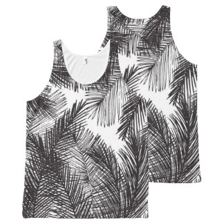 Black white watercolor hand painted palm trees All-Over print tank top