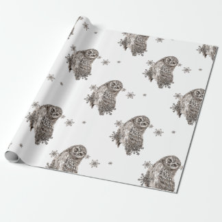 Black & White Watercolor Owl Winter Snowflakes Wrapping Paper