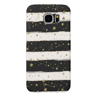 Black White Watercolor Stripes Gold Glitter Stars