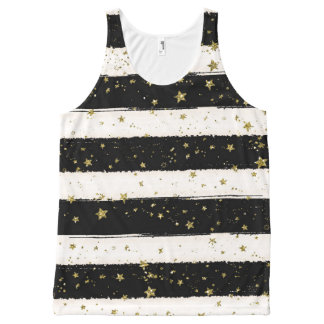 Black White Watercolor Stripes Gold Glitter Stars All-Over Print Tank Top