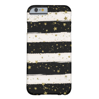 Black White Watercolor Stripes Gold Glitter Stars Barely There iPhone 6 Case