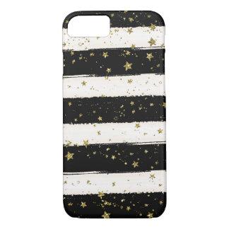 Black White Watercolor Stripes Gold Glitter Stars iPhone 7 Case