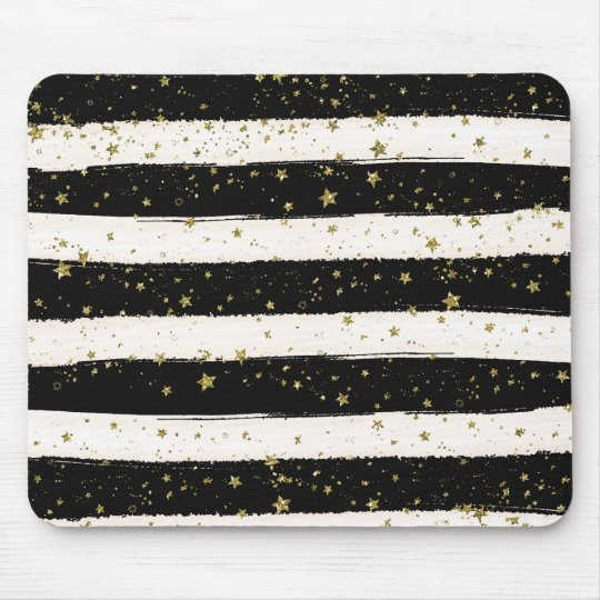 Black White Watercolor Stripes Gold Glitter Stars Mouse