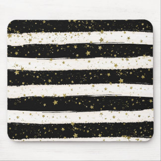 Black White Watercolor Stripes Gold Glitter Stars Mouse Pad