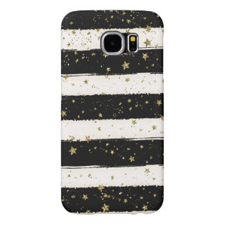 Black White Watercolor Stripes Gold Glitter Stars Samsung Galaxy S6 Cases