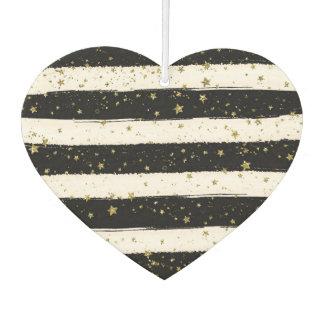 Black White Watercolor Stripes Gold Stars