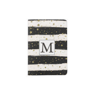 Black White Watercolor Stripes Gold Stars Monogram