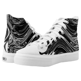Black & White Wave Pattern High Tops