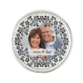 Black & White Wedding Anniversary with a photo Lapel Pin