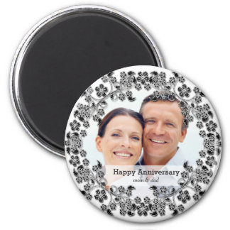 Black & White Wedding Anniversary with a photo 6 Cm Round Magnet