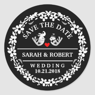 Black & White Wedding Birds Red Heart Save Date Round Sticker