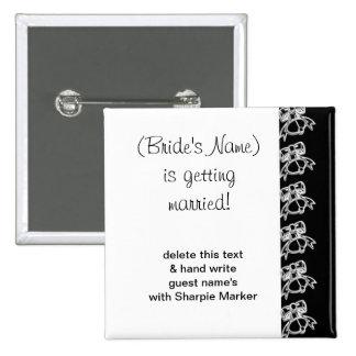 Black White Wedding Bridal Shower Name Pins