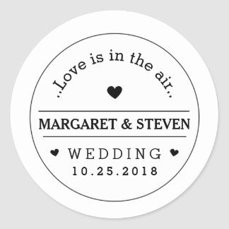 Black & White Wedding Custom Names & Date Round Classic Round Sticker