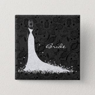 Black & White Wedding Dress & Vintage Lace 15 Cm Square Badge