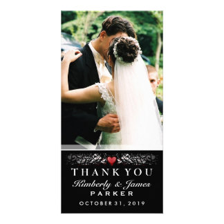 Black & White Wedding Heart Photo Thank You Card