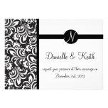 Black White wedding invitation monogram