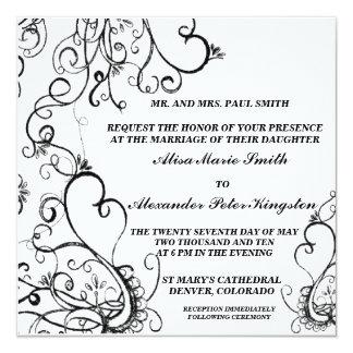 Black White Wedding invitations Announcements