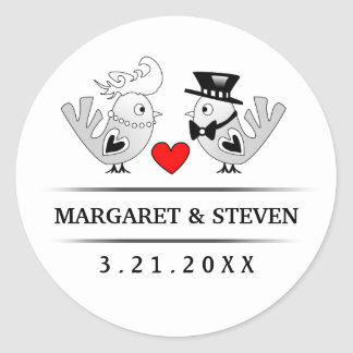Black & White Wedding Love Birds Red Heart Round Sticker