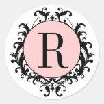 Black White Wedding Monogram R Damask Pink Label