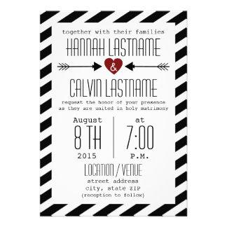 Black & White Wedding Stripes - Red Heart + Arrows Invites