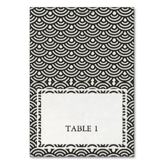 Black+White Wedding Wave Pattern Place Name Card Table Card
