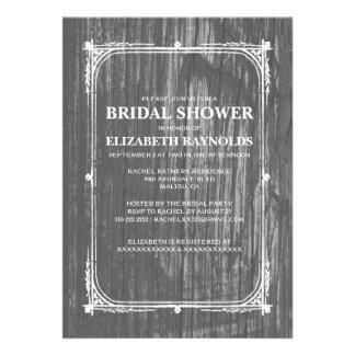 Black White Western Barn Wood Bridal Shower Invite Announcements