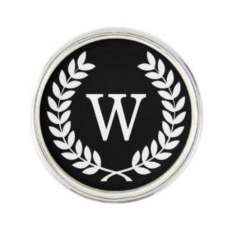 Black White Wheat Laurel Wreath Initial Monogram Lapel Pin