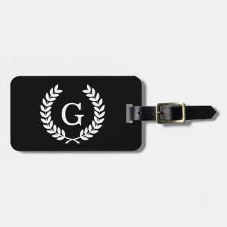 Black White Wheat Laurel Wreath Initial Monogram Luggage Tag
