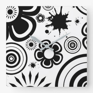 Black & White Whimsical Flowers, Circles, Splatter Square Wall Clock