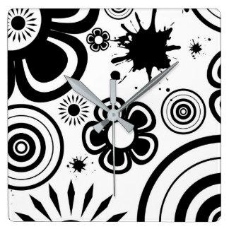 Black & White Whimsical Flowers, Circles, Splatter Wallclocks