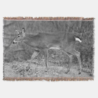 Black & White White-Tailed Deer Throw Blanket