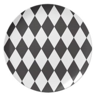 Black | White Wild Harlequin Diamond Pattern Plate