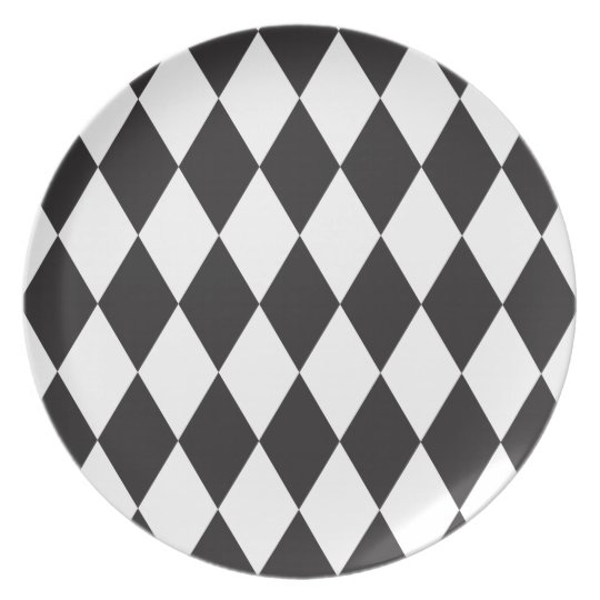 Black | White Wild Harlequin Diamond Pattern Plate
