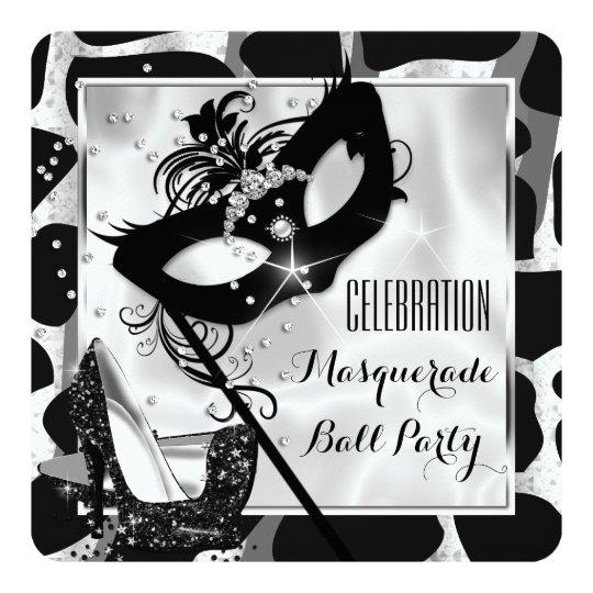 Black White Wild Masquerade Ball Party Card
