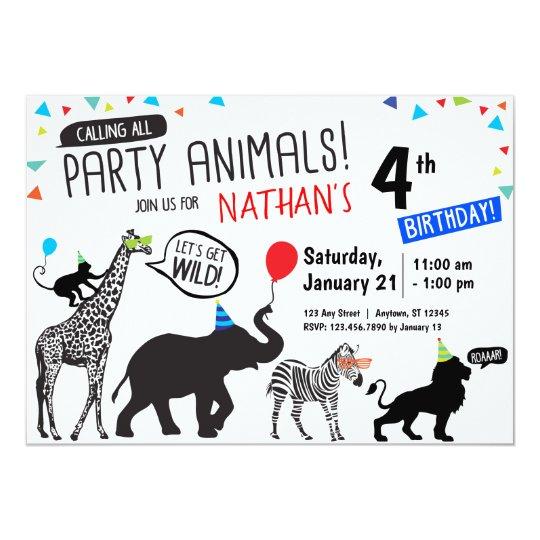 black white wild party animal birthday invitation zazzle co uk