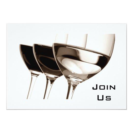 BLACK/WHITE WINE GLASS ADULT PARTY INVITATION